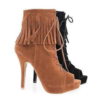 Verdict88 By Anne Michelle, Peep Toe Corset Lace Up Ankle Cuff Fringe Stiletto Booties