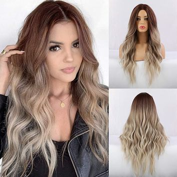 New fashion ladies' wig mid-length curly hair, gradient color wig