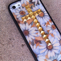 White Daisy Studded cross iPhone 4/4s and 5 case with bumper