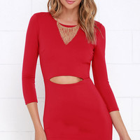 It's Been a Slice Red Long Sleeve Dress