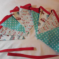 Red, Turquoise and White Transportation Themed Bunting
