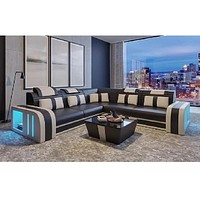 Modern L- Shaped Sectional Leather Sofa with LED Light