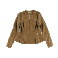 Guess Womens Emily Jacket Faux Leather Studded Jacket