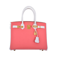 ONE & ONLY HERMES BIRKIN BAG HSS 3Ocm FLAMINGO WHITE GOLD HARDWARE