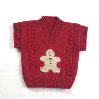 Christmas baby vest - 6 to 12 months - Infant knit red vest - Gingerbread Man - Baby clothing - Baby sweater vest
