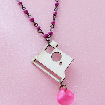 Wood Polariod Camera Necklace - Photographers & Travelers - Pink - Photography - Laser Cut Cameras - Lovely Light Weight Camera Necklace