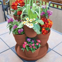 Emsco 3-Tier Resin Terracotta Flower and Herb Tower Planter-2381-1 at The Home Depot