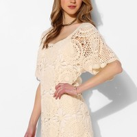 Lucca Couture Crochet Flutter-Sleeve Dress - Urban Outfitters