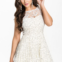 White Sleeveless Lace Skater Dress With Layered Skirt