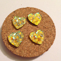 Decorative Tacks, Hearts-Yellow Set of 4