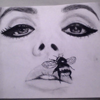 Charcoal drawing of Lana Del Rey