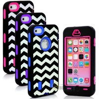 myLife Hot Pink + Black Zig Zag Style 3 Layer (Hybrid Flex Gel) Grip Case for New Apple iPhone 5C Touch Phone (External 2 Piece Full Body Defender Armor Rubberized Shell + Internal Gel Fit Silicone Flex Protector)