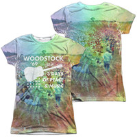 Woodstock On the Hill White Womens Poly Capped Sleeve (Front & Back Print)