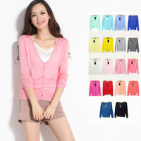 2016 Spring/ Summer Brand Causal Fashion V-neck Long Sleeve Women Knitwear Cardigan Plus Size Candy Color Thin Sweater Coat