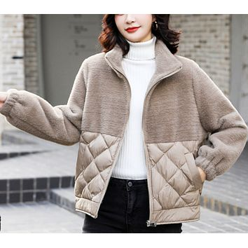 New hot sale plush gold mink stitching short padded jacket