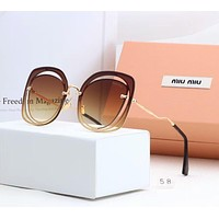 Miu Miu Popular Women Elegant Sun Shades Eyeglasses Glasses Sunglasses Coffee I-A-SDYJ