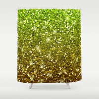 Shimmering Light Green Gold Glitters Shower Curtain by Tees2go