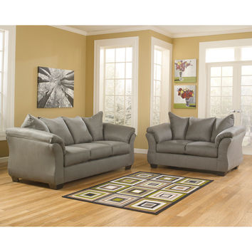 Darcy Living Room Set in Cobblestone Fabric