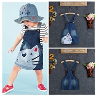 Cute Cartoon Cat Toddler Kids Baby Girls Summer Dress Princess Party Pageant Holiday Girls Tutu Dresses 2 3 4 5 6Y