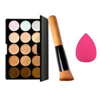 Toopoot 2017 Professional 15 Colors Makeup Concealer Contour Palette and Water Sponge Puff and Make up Brushes Top Quality