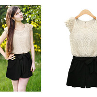 Lace Embroidered Ribbon Waist Band Romper With Pocket