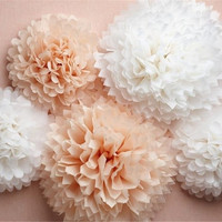 "Pompoms 40( 14"") paper flower, flower balls, wedding decoration, decoration, paper flower poms, baby shower,engagement party decorations"