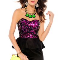Strapless Peplum Dress with Rosy Sequined Top