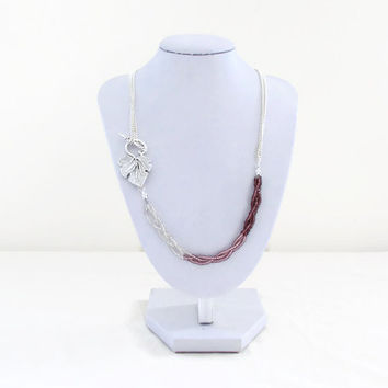 Pink beaded necklace, dark pink seed beads, bead and chain necklace, unusual jewelry, Mother's day gift for her, handmade in the UK