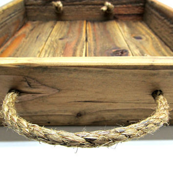 Reclaimed Wooden Tray With Rope Handles