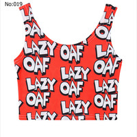 Sexy Short Girls Crop Top Lazy OAF Printed Casual Sports Jogging Women Bare Midriff Tank Top