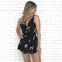 Botanical Rose Floral Romper in Black