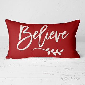 Decorative Lumbar Throw Pillow - Believe (red)