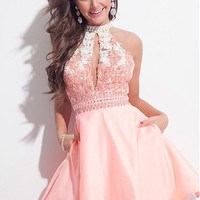 [84.99] Marvelous Tulle & Satin High Collar Neckline A-Line Homecoming Dresses With Lace Appliques - dressilyme.com