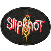 "SLIPKNOT Iron On Patch 4"" X 3"" Embroidered Band Logo Metal Music Applique Black"