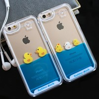 For iPhone 7 Case 3D Clear Flowing Liquid Swimming Yellow Duck Back Cover For iPhone 5S Case Cute For iPhone X 8 6S Plus 7 Plus