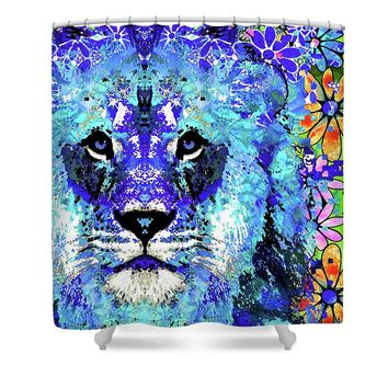 Beauty And The Beast - Lion Art - Sharon Cummings Shower Curtain