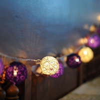 20 x Warm wood organic purple shaded string light rattan ball night light bedroom bedhead display lantern pom pom garland