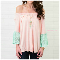 Pure Delight Peach & Mint Off The Shoulder Top