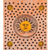 Orange Multicolor Sun Moon Star Tapestry Wall Hanging Indian Hippie Bedspread on RoyalFurnish.com