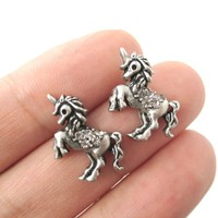 Classic Unicorn Horse Shaped Stud Earrings in Silver with Rhinestones | Animal Jewelry