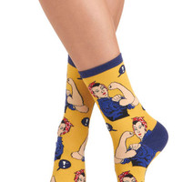 Vintage Inspired Simply Riveting Socks in Yellow by ModCloth