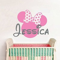 Wall Decals Custom Name Baby Personalized Name Nursery Kids Boys Girls Disney Head Mice Ears Mickey Mouse Wall Vinyl Decal Stickers Bedroom Murals