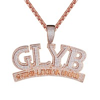 Rose Gold Finish GLYB 3D Grind Like Ya Broke Pendant Necklace