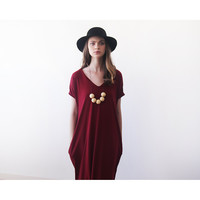 Blushfashion™ Bordeaux Maxi Knitted Dress