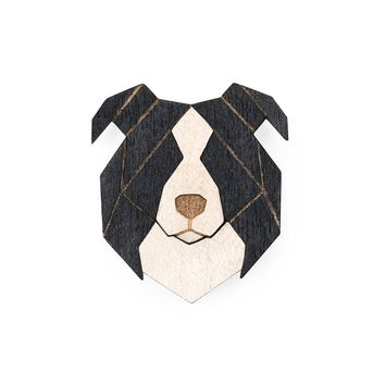 Wooden Border Collie Pin