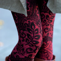 Red Leaves And Lace Leggings