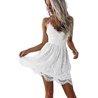 Sexy V Neck Hippie White Lace Dress Summer Short Backless Spaghetti Strap Boho Cami Dress Woman Party Mini Dresses Camisas Mujer