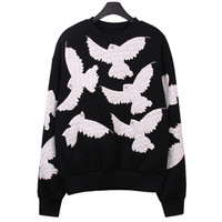 Appliques Embroidery Lace Pigeon Pullovers Sweatshirt Women Diamond Bird eye Long Sleeve O neck Hoodies Sweats Jumpers Femme