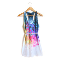 "The Original ""Splash Dyed"" Hand PAINTED Scoop Neck Racerback Tunic Tee Dress in White Spectrum Rainbow - XS S M L"