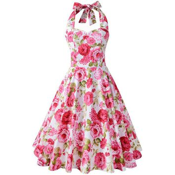 Chicanary Floral Print Halter Vintage Dress Women Sleeveless 1950s Rockabilly Swing Dance Dresses